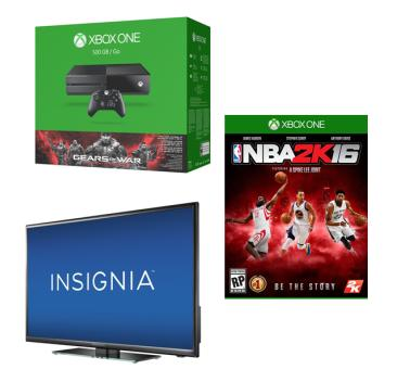 $469.99 Microsoft Xbox One Gears of War + NBA 2K16 + Insignia 40-inch LED 1080p TV