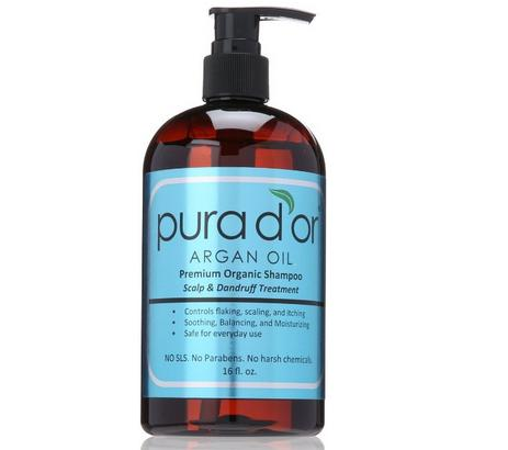 Lightning Deal pura d'or Argan Oil Premium Organic Shampoo Scalp and Dandruff Treatment, Brown and Blue, 16 Fluid Ounce