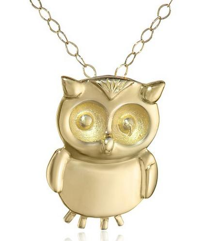 14k Yellow Gold Small Owl Pendant Necklace, 18