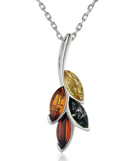 Multicolor Amber Sterling Silver Spray Pendant Necklace, 18''