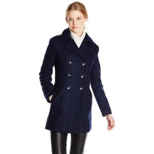 Kenneth Cole New York Women's Double-Breasted Wool-Blend Military Coat