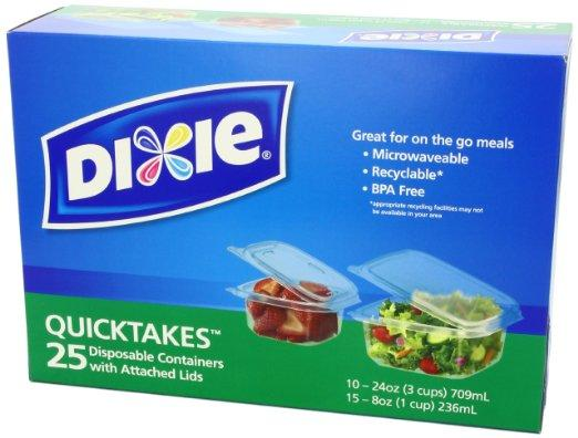 $4.28 Dixie Quicktakes Disposable Food Storage Containers with Attached Lids, 25 Count
