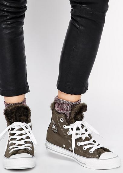 Converse Chuck Taylor® All Star® Suede & Fur Hi Women's Sneakers On Sale @ 6PM.com