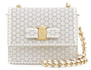 $690 Salvatore Ferragamo  Ginny Perforated Bow Crossbody Bag, New Bianco