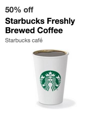 50% Off Starbucks Freshly Brewed Coffee via Cartwheel by Target