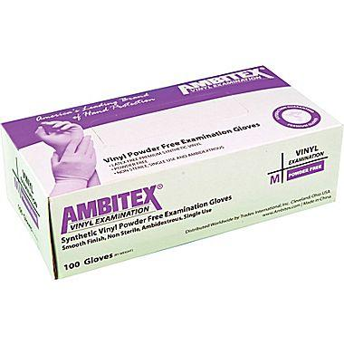 Ambitex® Powder-Free Disposable Vinyl Exam Gloves, Medium or Large
