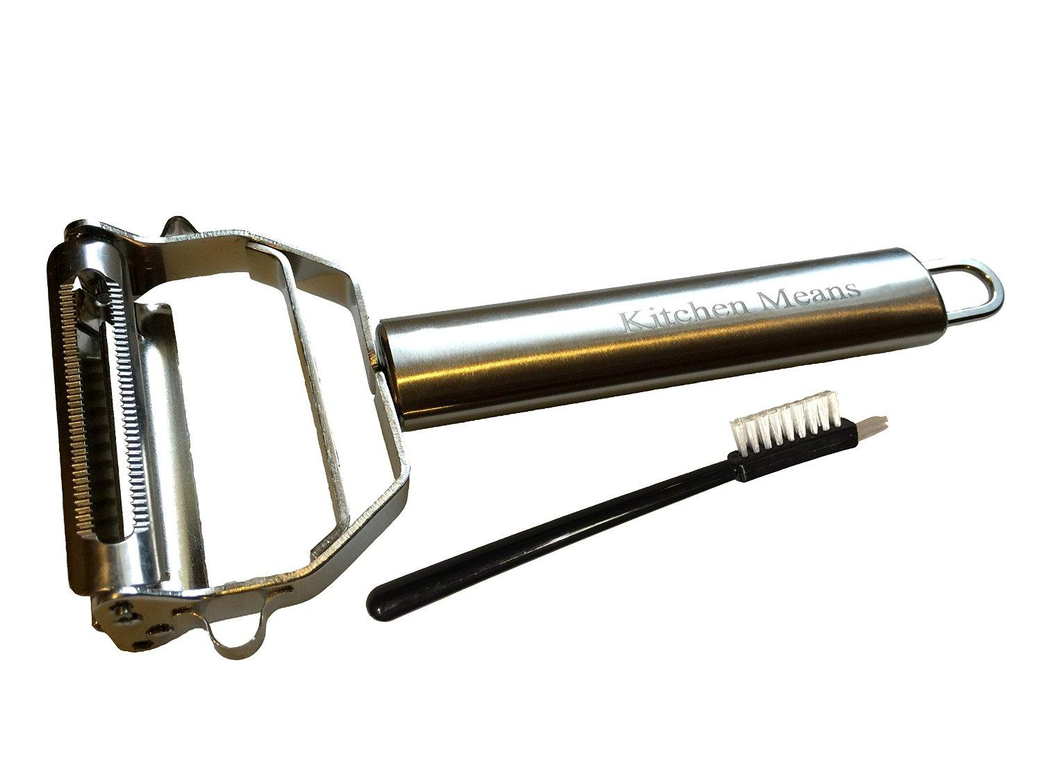 Kitchen Means Ultra Sharp Stainless Steel Julienne and Vegetable Peeler Cleaning Brush Included