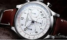 Baume and Mercier Capeland White Dial Chronograph Men's Watch 10082