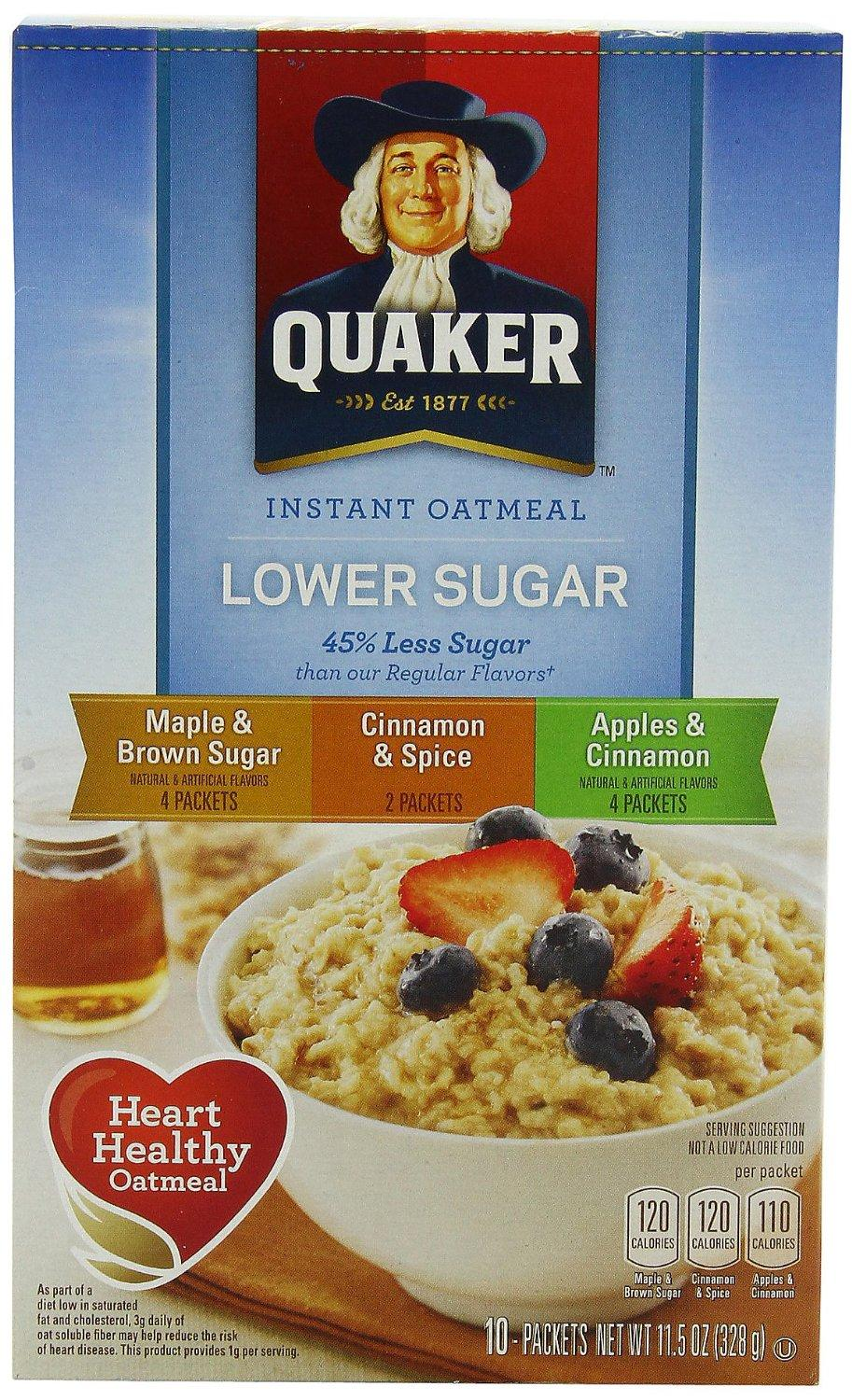 $8.06 Quaker Instant Oatmeal Lower Sugar, Flavor Variety Pack, 10 Count Boxes, 11.5 Ounce, (Pack of 4)