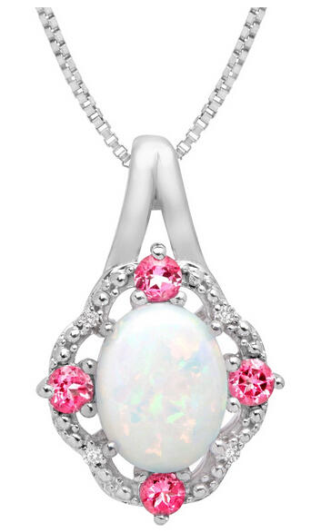 1 1/6 ct Opal & Pink Sapphire Pendant