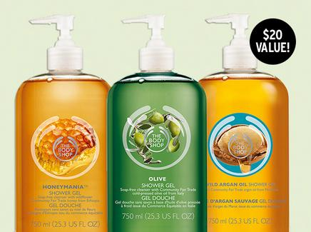 BUY 3 GET 3 FREE OR BUY 2 GET 1 FREE + Free Jumbo Shower Gel with $60 Purchase @ The Body Shop