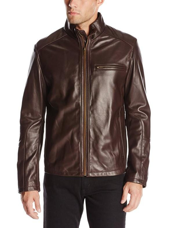 $199.95 Cole Haan Men's Smooth Leather Moto Jacket