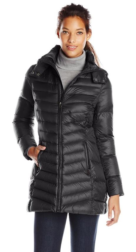 Tommy Hilfiger Women's Mid-Length Packable Down Coat with Hood