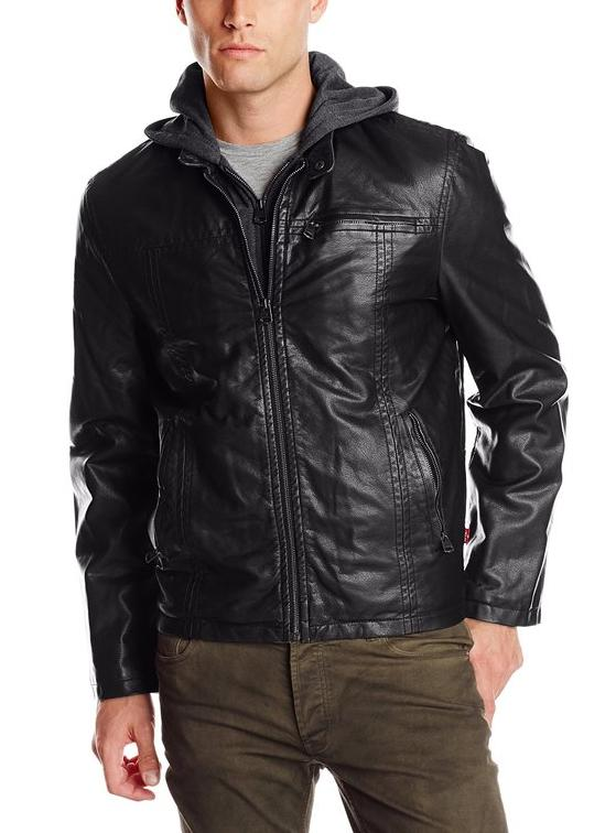 $54 Levi's Men's Faux-Leather Jacket with Hood