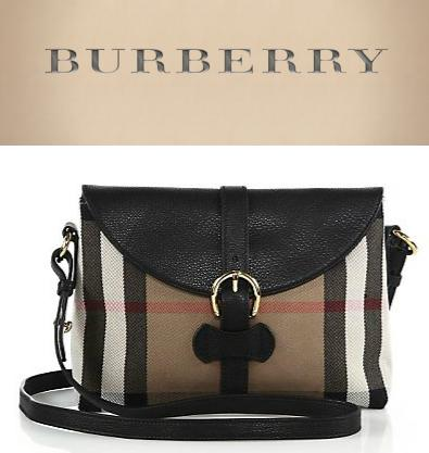 Burberry Milton Leather & Check Shoulder Bag