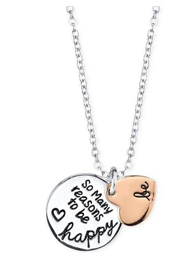 Inspirational So Many Reasons to Be Happy Pendant Necklace in Sterling Silver