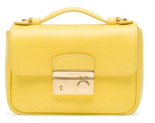 Prada Saffiano Mini Crossbody Clutch, Yellow