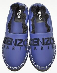 Kenzo Blue Gommato Leather Platform Slipper @ FORZIERI