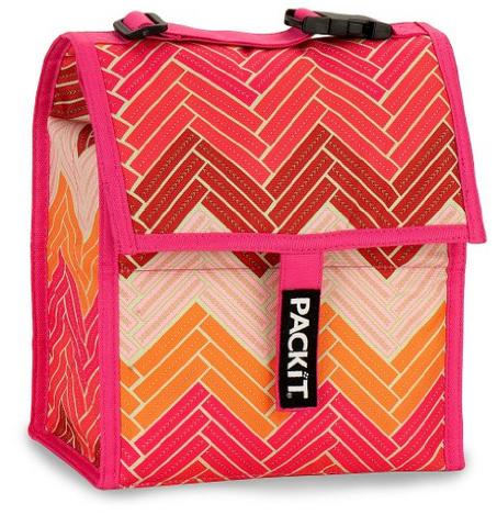 PackIt Freezable Lunch Bag with Adjustable Strap, Chevron Pink