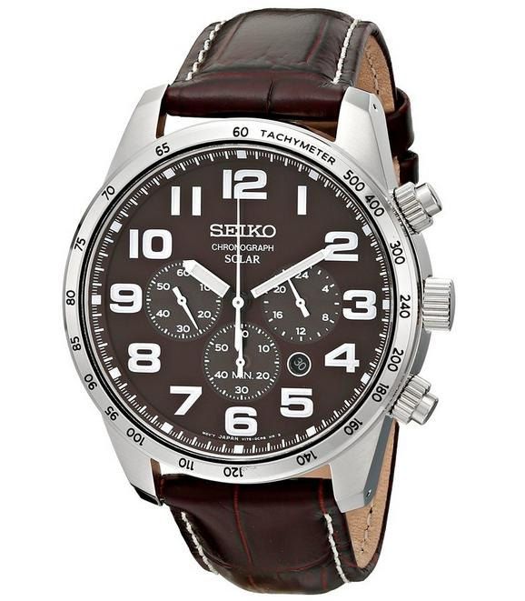 $132.53 Seiko Men's SSC227 Stainless Steel Solar Watch with Brown Leather Band