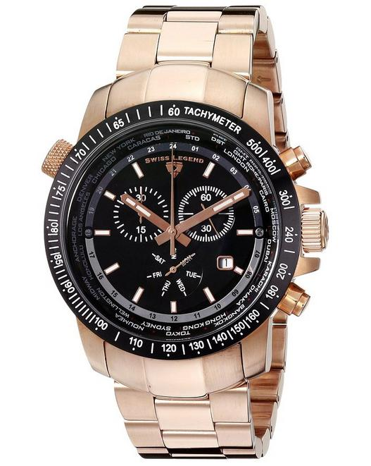 $66.42 Swiss Legend Men's World Timer Collection Chronograph Stainless Steel Watches