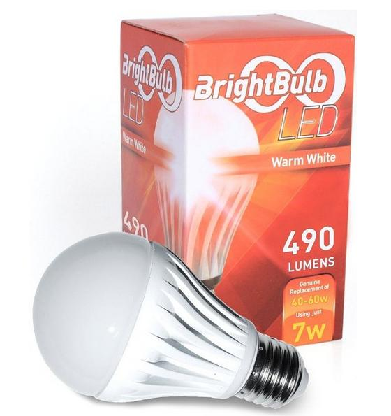 $6.99 7W BrightBulb LED LightBulbs A19