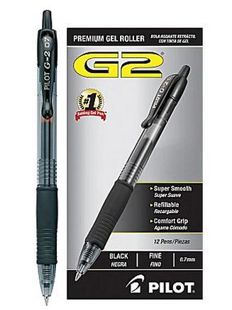 Pilot G-2 Retractable Gel-Ink Pens, Fine Point, Black, Dozen