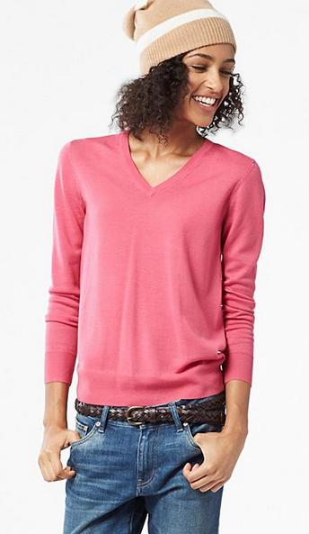 Womens 100% Extra Fine Merino Wool V-Necks Sweaters