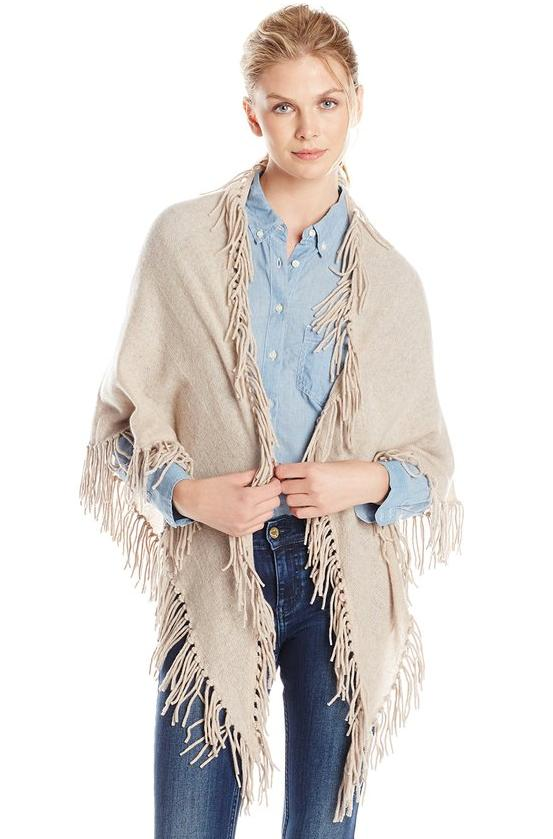 Minnie Rose Women's Fringe Shawl