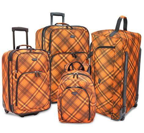 $84.99 U.S. Traveler by Traveler's Choice Camarillo Orange Plaid 4-piece Casual Luggage Set