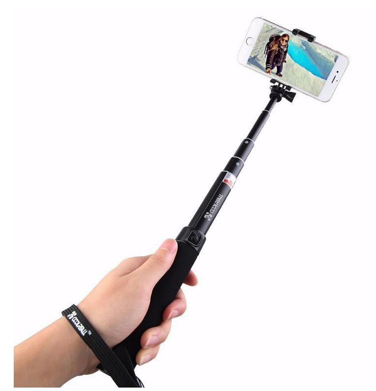 $8.99 Coolreall Extendable Selfie Stick Monopod with Adjustable Clamp - Black
