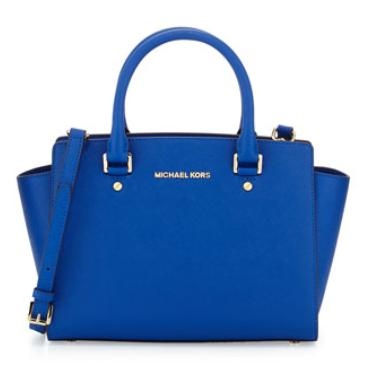 MICHAEL Michael Kors  Selma Medium Top-Zip Satchel Bag, Electric Blue