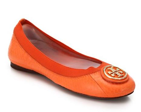 Tory Burch Caroline Snake-Embossed Leather Logo Flats @ Saks Fifth Avenue