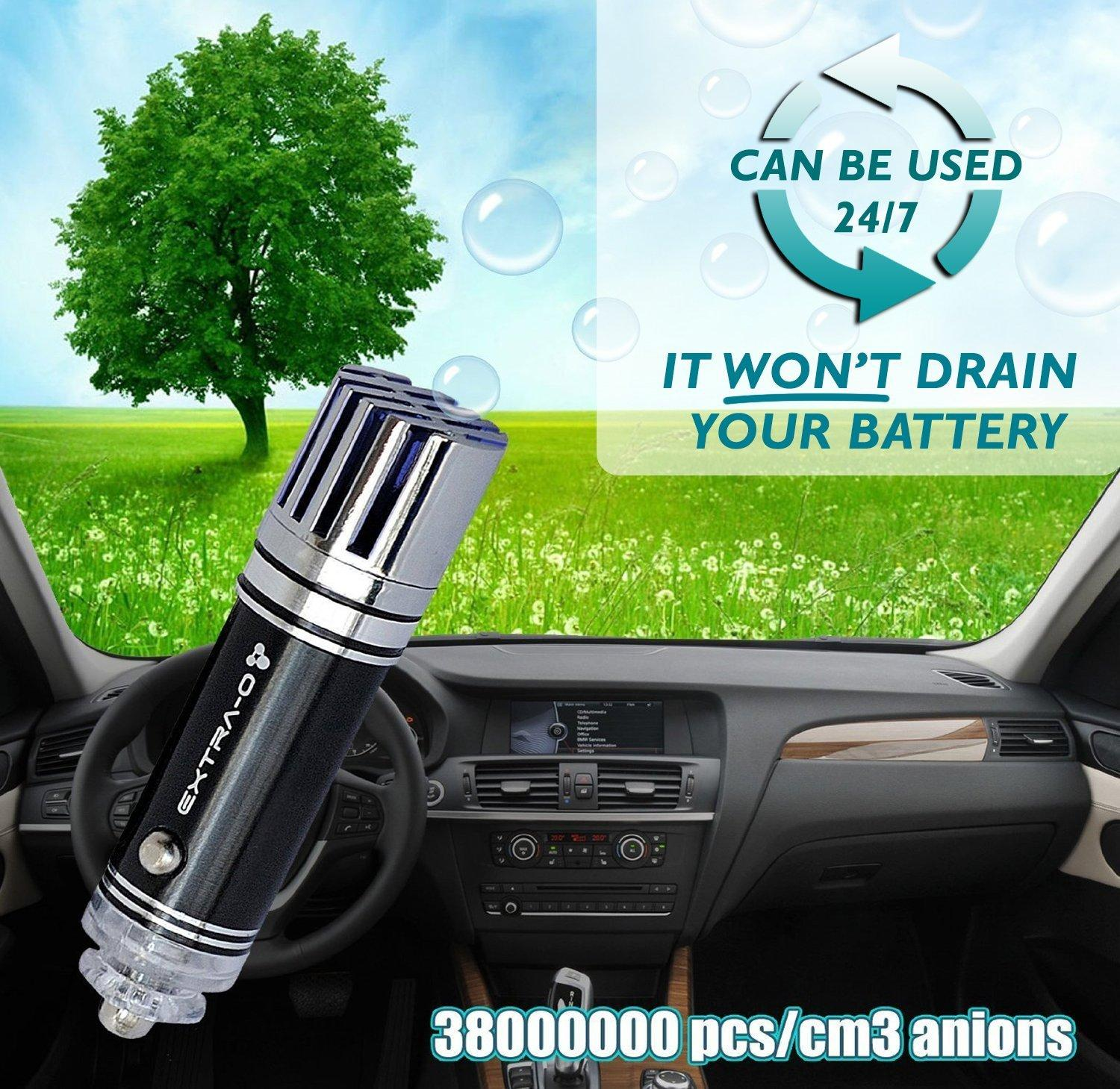 EXTRA-O Car Air Purifier Ionizer with Home 12V Adapter