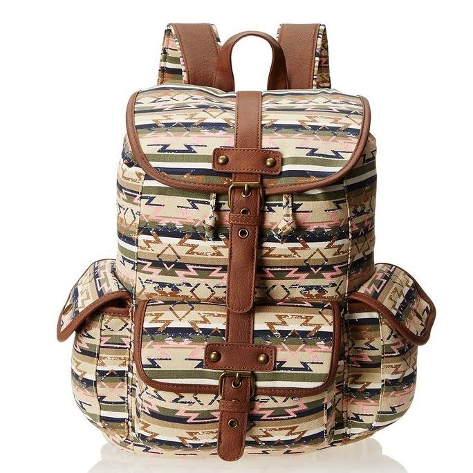 $27 Wild Pair Printed Canvas Cargo With Faux Leather Trim Backpack Handbag