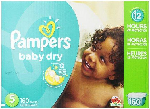 $29.27 Pampers Baby Dry Diapers Economy Pack Plus, Size 5, 160 Count