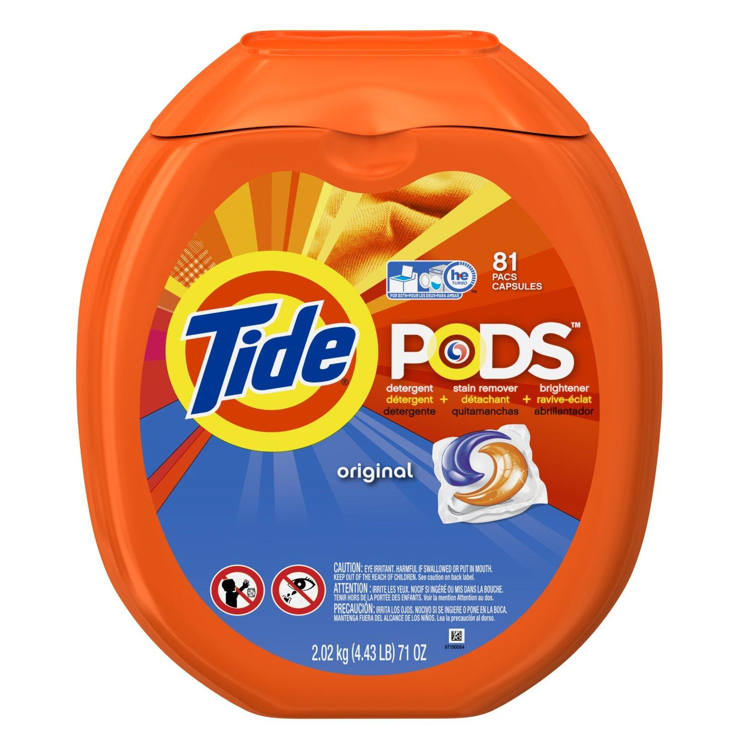 Tide Pods Laundry Detergent Packs Tub, Original, 81 Count