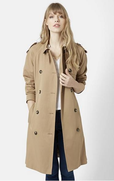 Topshop Double Breasted Cotton Trench