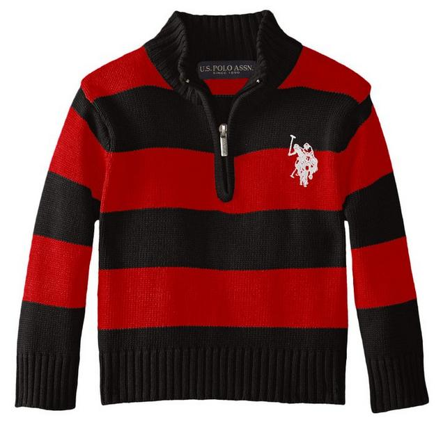 U.S. Polo Assn. Little Boys' Quarter-Zip Striped Sweater