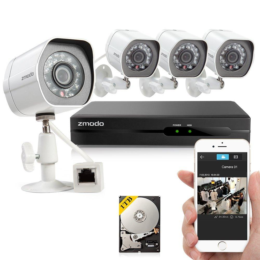 Zmodo 4CH 720p HD Simplified PoE NVR Outdoor Indoor Day Night IR-CUT Motion Detection Push Alerts Home Video Surveillance Security Camera System w/ 1TB Hard Drive