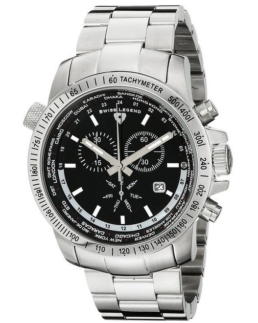 $65.99 Swiss Legend Men's 10013-11 World Timer Collection Chronograph Stainless Steel Watch