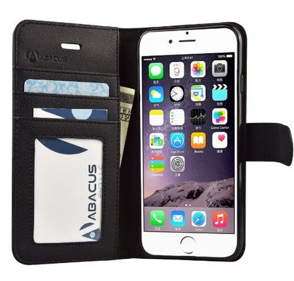Abacus24-7 Wallet Case, Leather 6S Flip Cover for Apple iPhone 6S