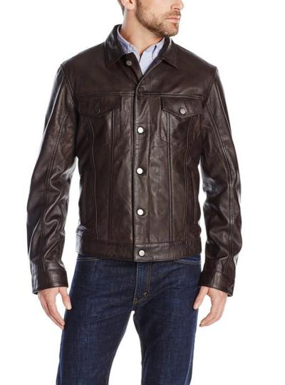 Emanuel by Emanuel Ungaro Men's Modern Rugged Lamb-Leather Jacket