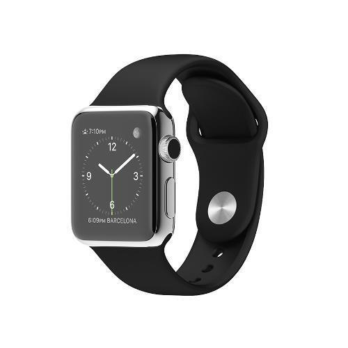 Apple Watch 38mm Stainless Steel Case Black Sports Band