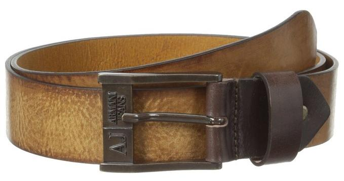 Armani Jeans Men's Belt with Embossed Logo Buckle