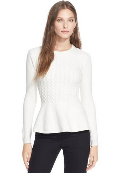 Ted Baker Women's Mereda Cable-Knit Peplum Sweater