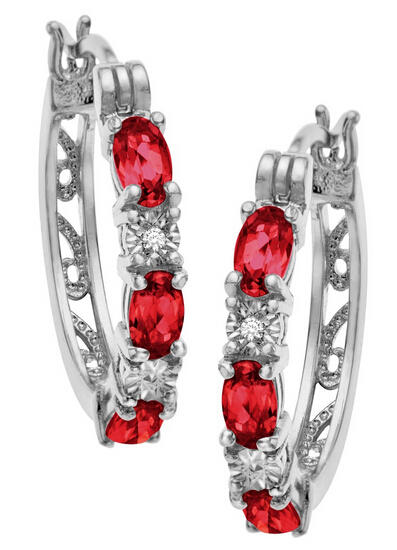 2 ct Ruby Hoop Earrings with Diamonds