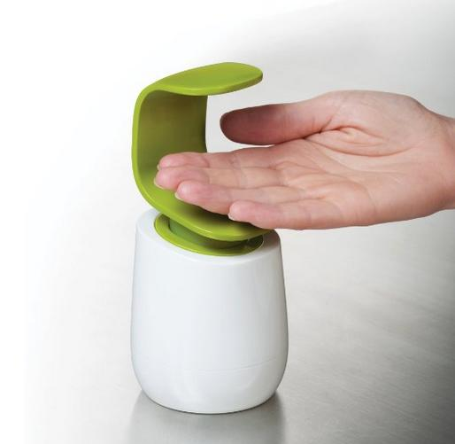 Joseph Joseph C-Pump Single-Handed Soap Dispenser, White and Green