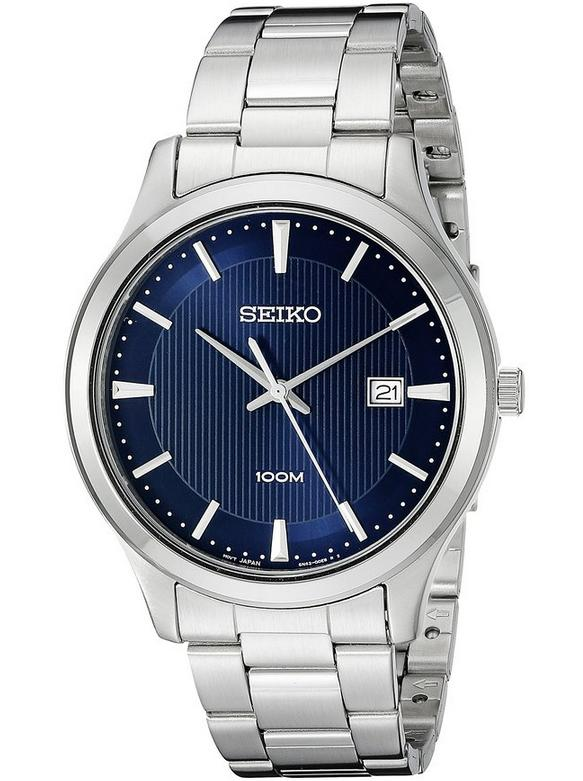 Lowest price! Seiko Men's SUR049 Stainless Steel Bracelet Watch with Blue Dial