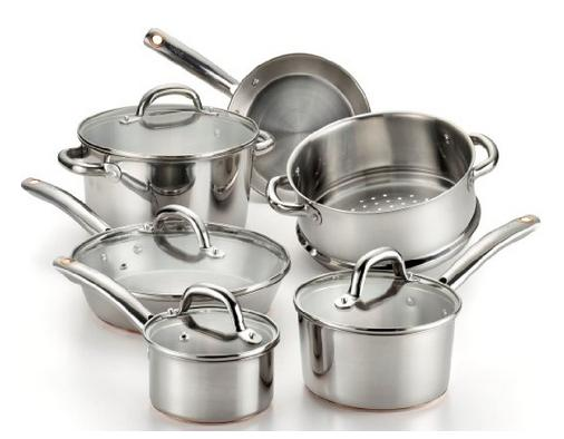 T-fal C836SA Ultimate Stainless Steel Copper-Bottom Heavy Gauge Multi-Layer Base Cookware Set, 10-Piece, Silver